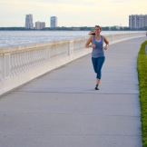 Running down Bayshore Blvd